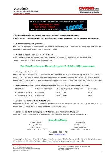 Den Gutschein können Sie noch bis zum 15 ... - CWSM GmbH