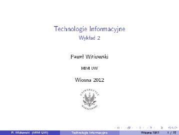 Technologie Informacyjne - Wykład 2