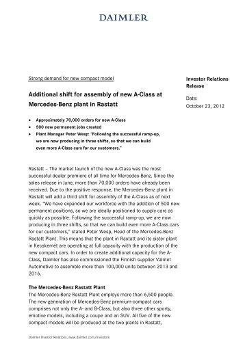 Additional shift for assembly of new A-Class at Mercedes ... - Daimler