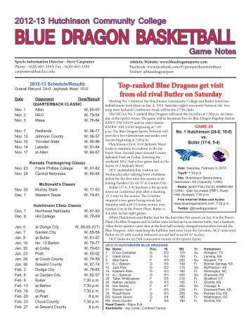 2012-13 Blue Dragon Basketball Game Notes - Hutchinson ...