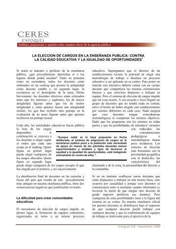 008 La Eleccion de Cargos en la Enseñanza Publica - Ceres
