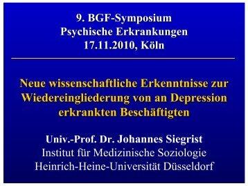 Vortrag Prof. Siegrist - Institut für Betriebliche Gesundheitsförderung