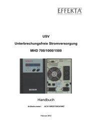 USV Unterbrechungsfreie Stromversorgung MHD 700/1000 ... - Effekta
