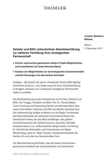 Daimler und BAIC unterzeichnen Absichtserklärung zur weiteren ...