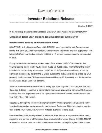 Investor Relations Release - Daimler