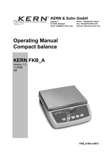Operating Manual Compact balance - KERN & SOHN GmbH