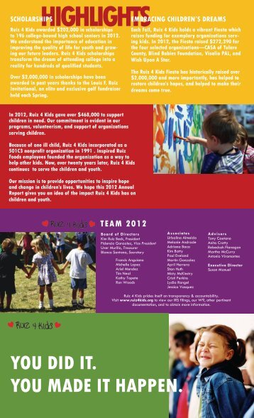 2012 Annual Report - Ruiz 4 Kids