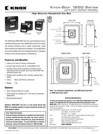 Knox Residential Lift-off Door Spec Sheet - Knox Box