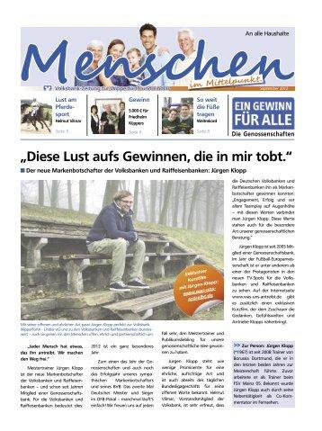 Kundenzeitschrift September 2012 - Volksbank Wipperfürth-Lindlar eG