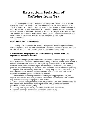 extraction of caffeine from tea lab report purpose
