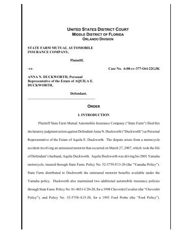 Download State Farm Mutual Auto. Insurance Co. v. Duckworth