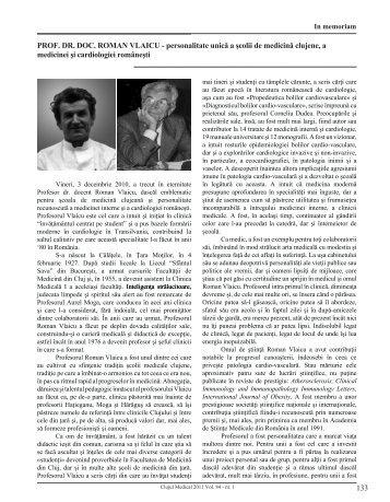 133 PROF. dR. dOc. ROman VlaIcu - personalitate ... - Clujul Medical