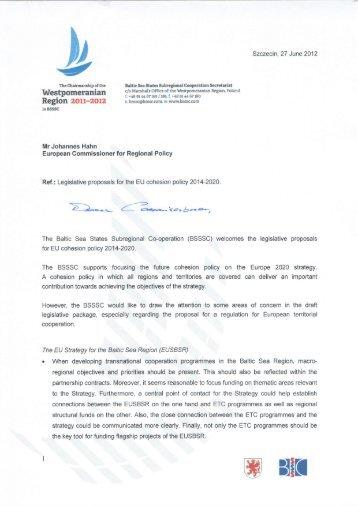 Legislative proposals of the EU cohesion policy 2014 ... - BSSSC.com