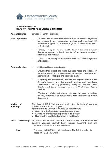 Human Resources Business Partner Job Description   - Students