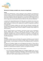 Genèse de la Fondation maladies rares, structure et organisation