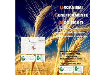 ORGANISMI GENETICAMENTE MODIFICATI - Ambiente e Territorio