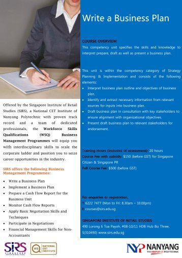 Write a Business Plan - Singapore Institute of Retail Studies