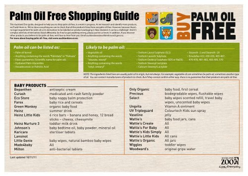 Palm Oil Free Shopping Guide - Auckland Zoo
