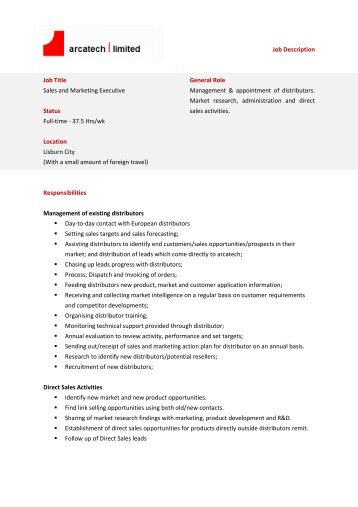 Job Description Job Title: Single Market Account Executive