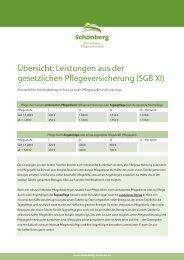 Übersicht: Leistungen aus der gesetzlichen ... - Schönberg Pflege