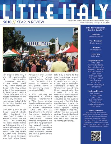 Little Italy's 2010 Year-In-Review Newsletter (Released July 2011)
