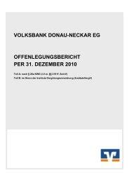 Offenlegungsbericht per 31. Dezember 2010