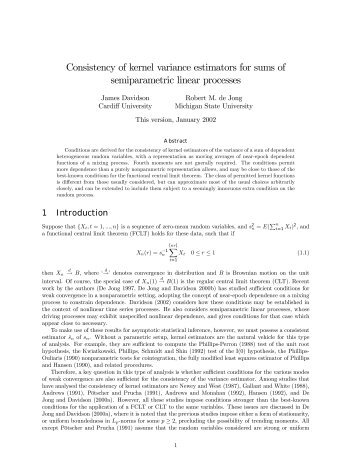 Consistency of kernel variance estimators for sums of ...
