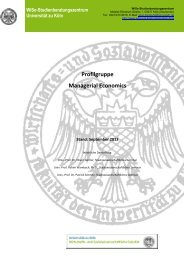 Profilgruppe Managerial Economics - VWL - Universität zu Köln