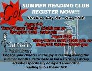 SUMMER READING CLUB REGISTER NOW!!!
