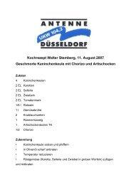 Kochrezept Walter Stemberg, 11. August 2007 ... - Antenne Düsseldorf