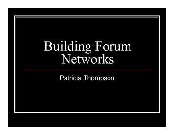 Building Forum Networks