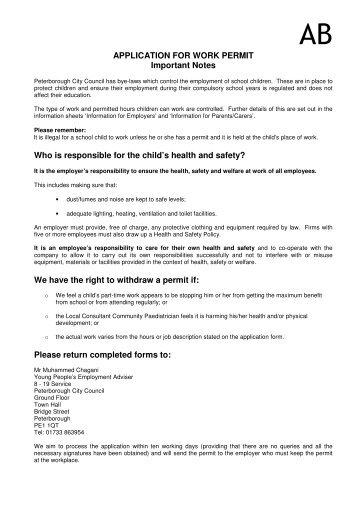 child employment work permit application form parents portal