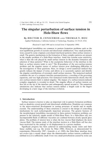 The singular perturbation of surface tension in Hele-Shaw flows