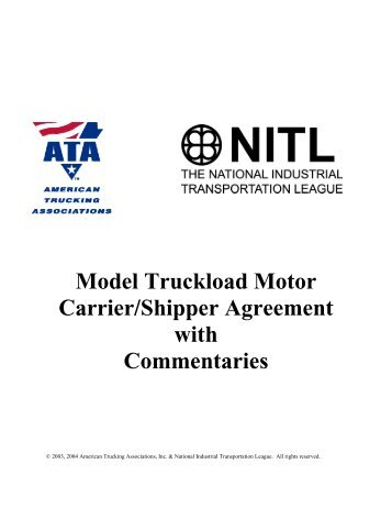 Motor Carriershipper Agreement Instructions American Trucking