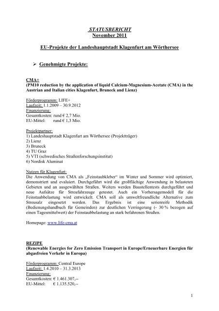 STATUSBERICHT November 2011 EU-Projekte der ... - Klagenfurt