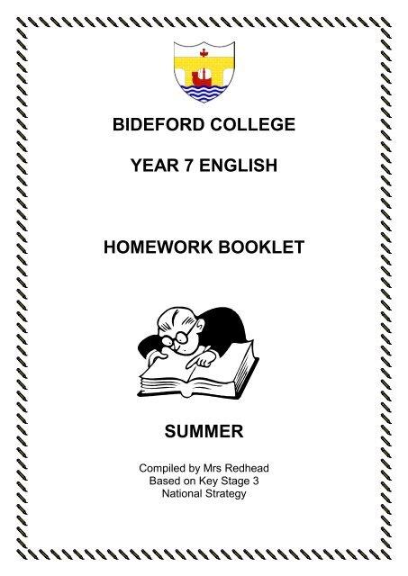 bideford college year 7 english homework booklet summer