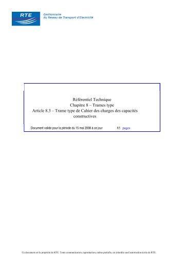 Référentiel Technique Chapitre 8 – Trames type Article 8.3 ... - RTE