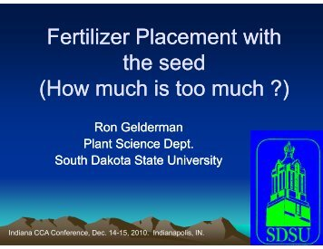 Fertilizer Placement with the seed (How much is too much ?)