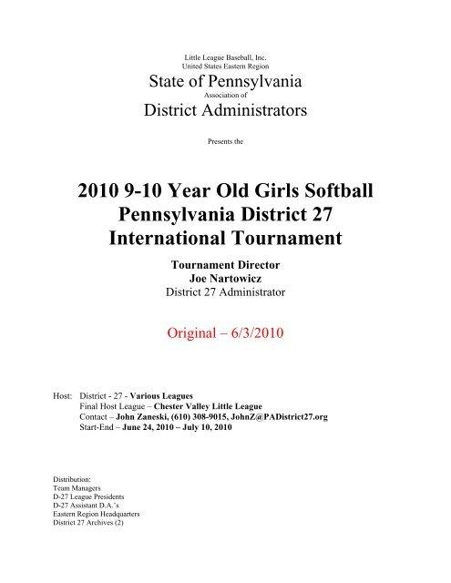 SCH 9-10SB pdf - PA District 27 Little League Baseball and