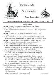 Pfarrgemeinde St. Laurentius Bad Rotenfels St. Sebastianus