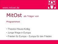Präsentation der Trägerprogramme - MitOst e.V.