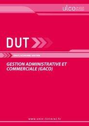 DUT Gestion Administrative et Commerciale GACO - Université du ...