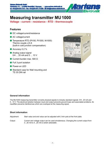 MU1000-00- Prospekt - Martens Elektronik GmbH