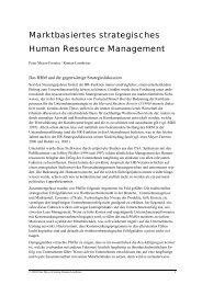Marktbasiertes strategisches Human Resource Management. Peter