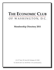O F W A S H I N G T O N, D. C. - The Economic Club of Washington