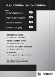 Notice moteur Becker PRF + - Conseils sur les stores