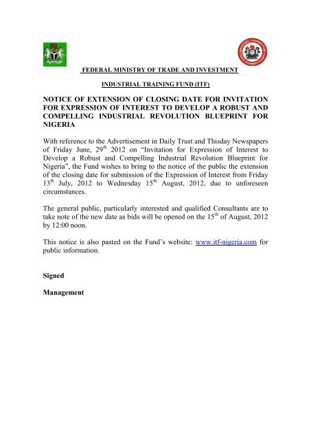 NOTICE OF EXTENSION OF CLOSING DATE FOR     - ITF Nigeria