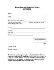 Service Verification Form - Bishop Foley Catholic High School