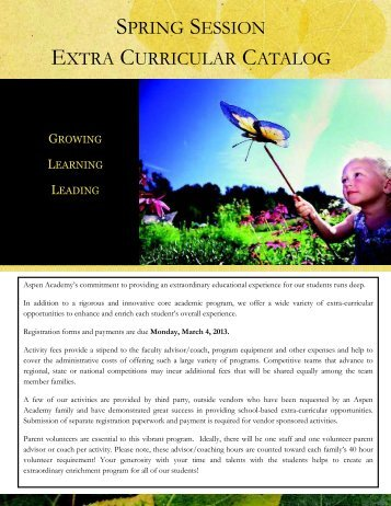 Spring 2013 Catalog - Aspen Academy
