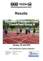 Results European Champion Clubs Track&Field Group B - LA-Bern